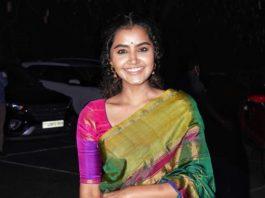 Anupama Parameshwaran in multi colour uppada silk saree at director Sukumar's family function