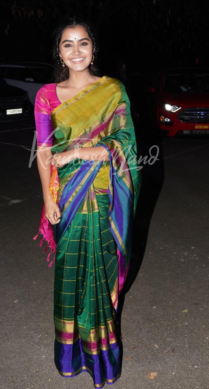Anupama Parameshwaran in multi colour uppada silk saree at director Sukumar's family function-4