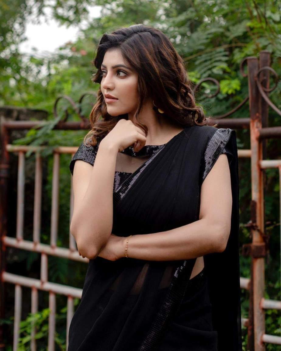 Athulya Ravi in a black half saree by abarna sundaram1