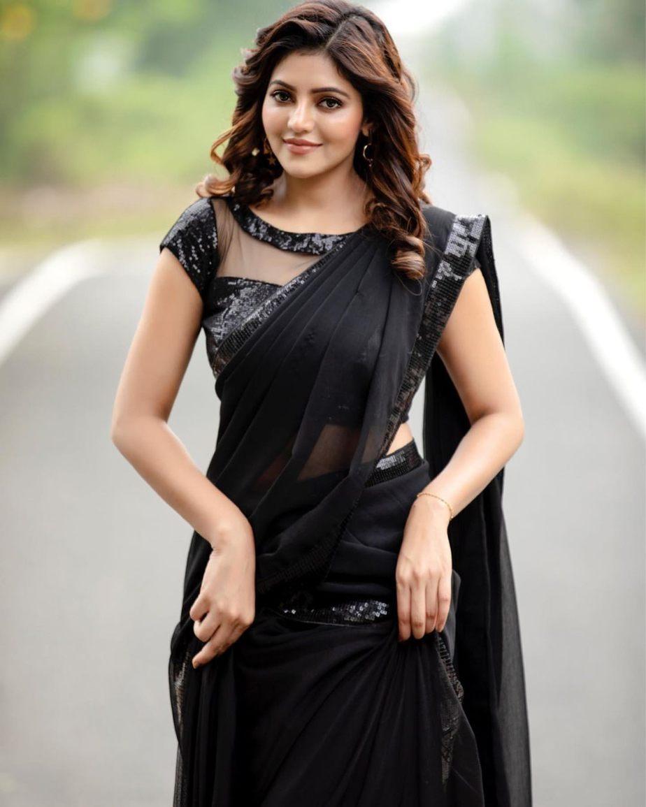 Athulya Ravi in a black half saree by abarna sundaram2