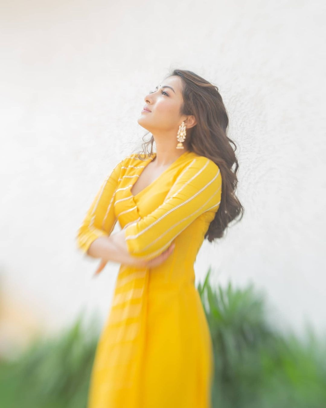 Catherine Tresa in yellow deepthee outfit for Bala thandanna movie pooja
