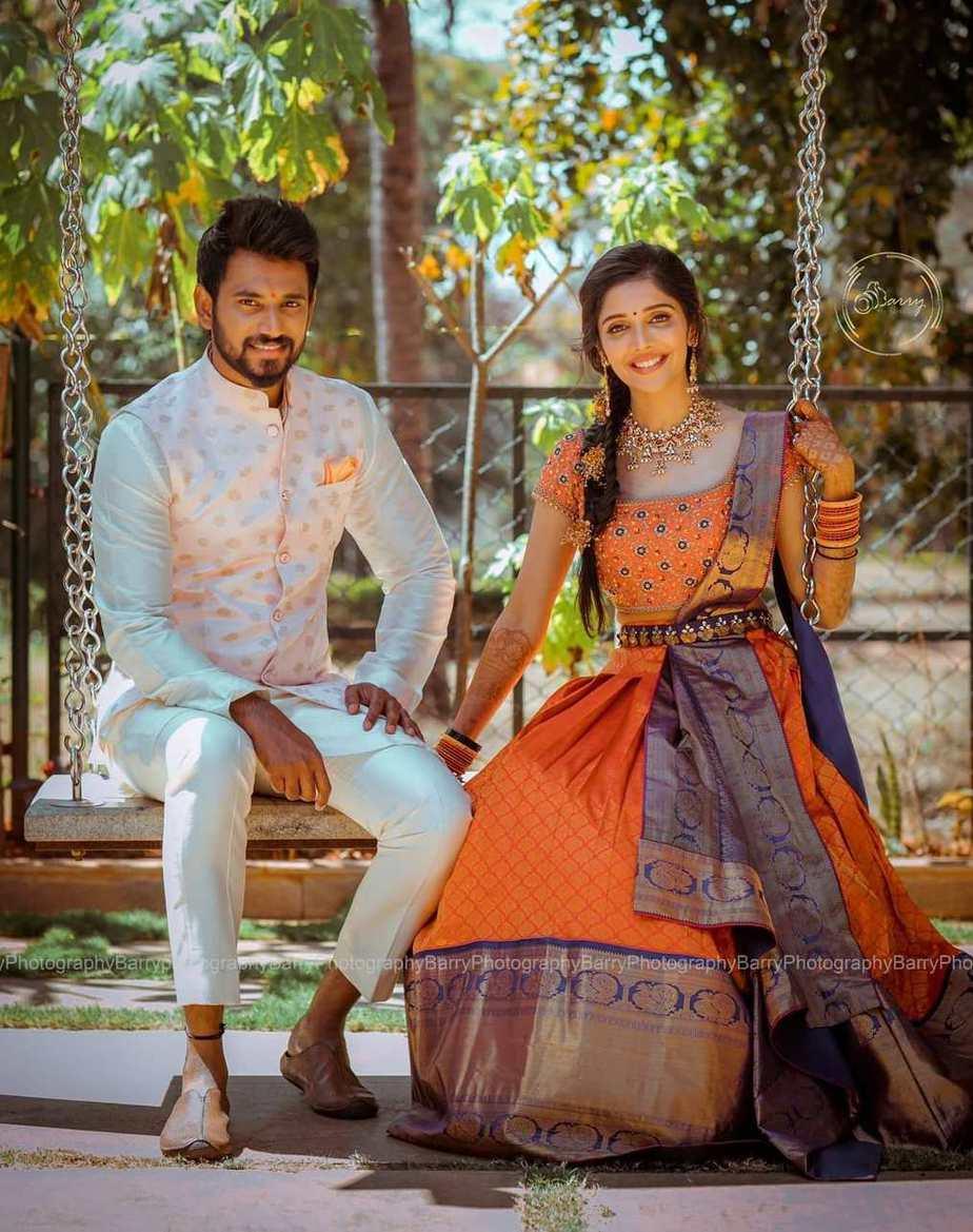 Darling Krishna and Milana Nagaraj at engagement ceremony