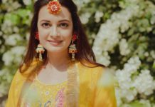 Dia mirza in yellow outfit by Nafisa Rachel William for mehndi