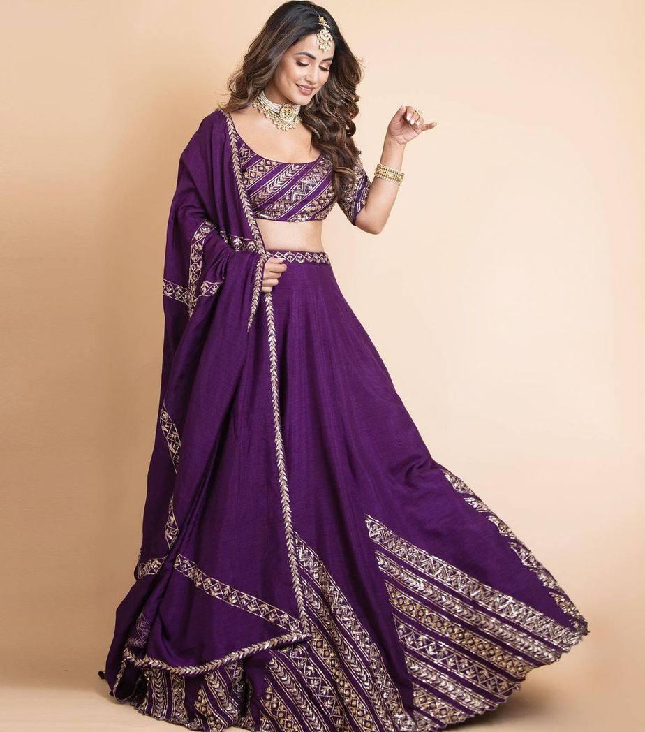 Hina Khan in praytusha garimella purple lehenga