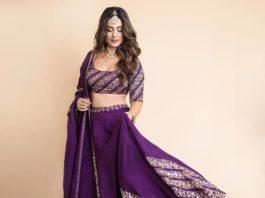 Hina Khan in praytusha garimella purple lehenga1