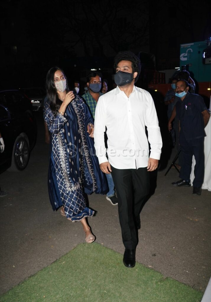 Jr NTR and Pranathi at director Sukumar's family function in white and navy blue outfits-1