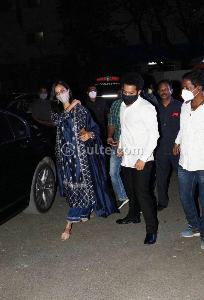 Jr NTR and Pranathi at director Sukumar's family function in white and navy blue outfits-5 (1)