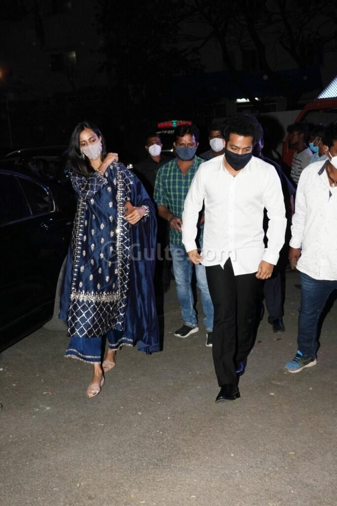 Jr NTR and Pranathi at director Sukumar's family function in white and navy blue outfits