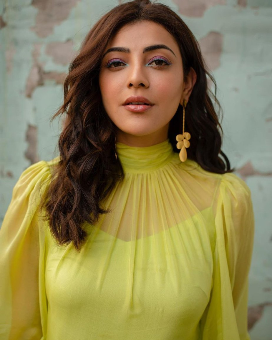 Kajal Aggarwal in a lemon yellow dress from Zwaan