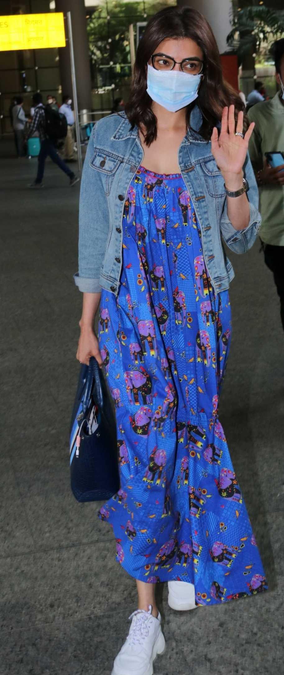 Kajal Aggarwal in a maxi dress by dandelion at mumbai airport