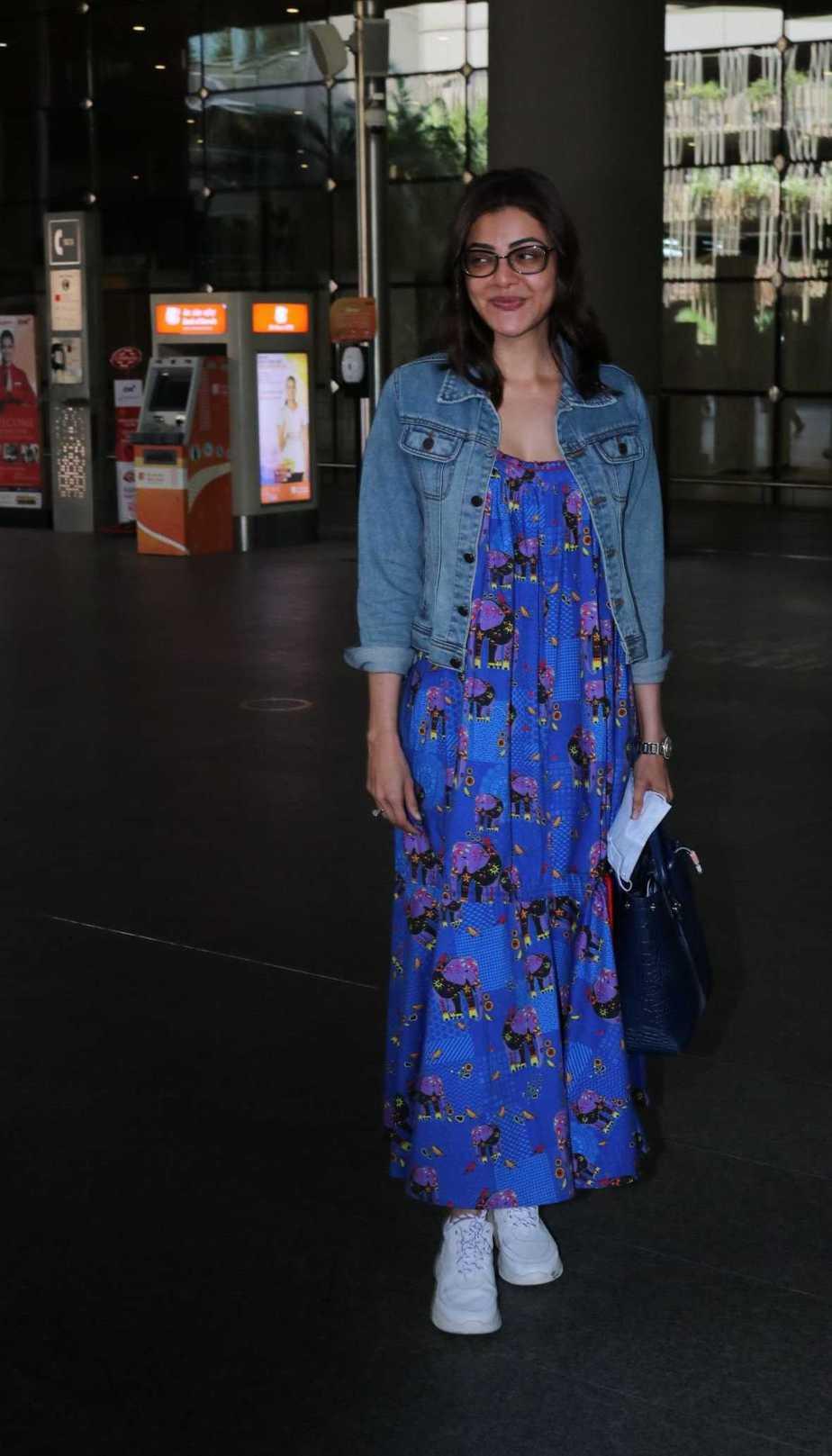 Kajal Aggarwal in a maxi dress by dandelion at mumbai airport1