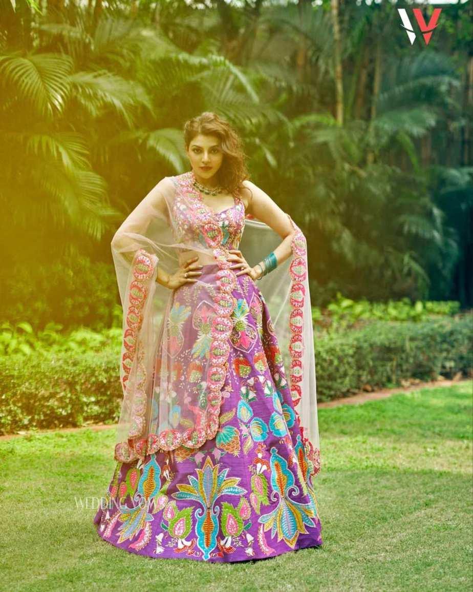 Kajal aggarwal in a purple lehenga set by Aisha rao for wedding vows photoshoot