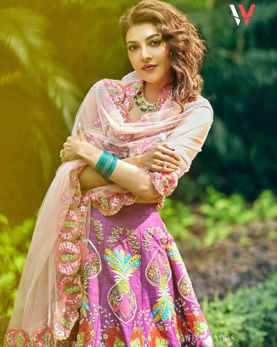 Kajal aggarwal in a purple lehenga set by Aisha rao for wedding vows photoshoot2 (1)