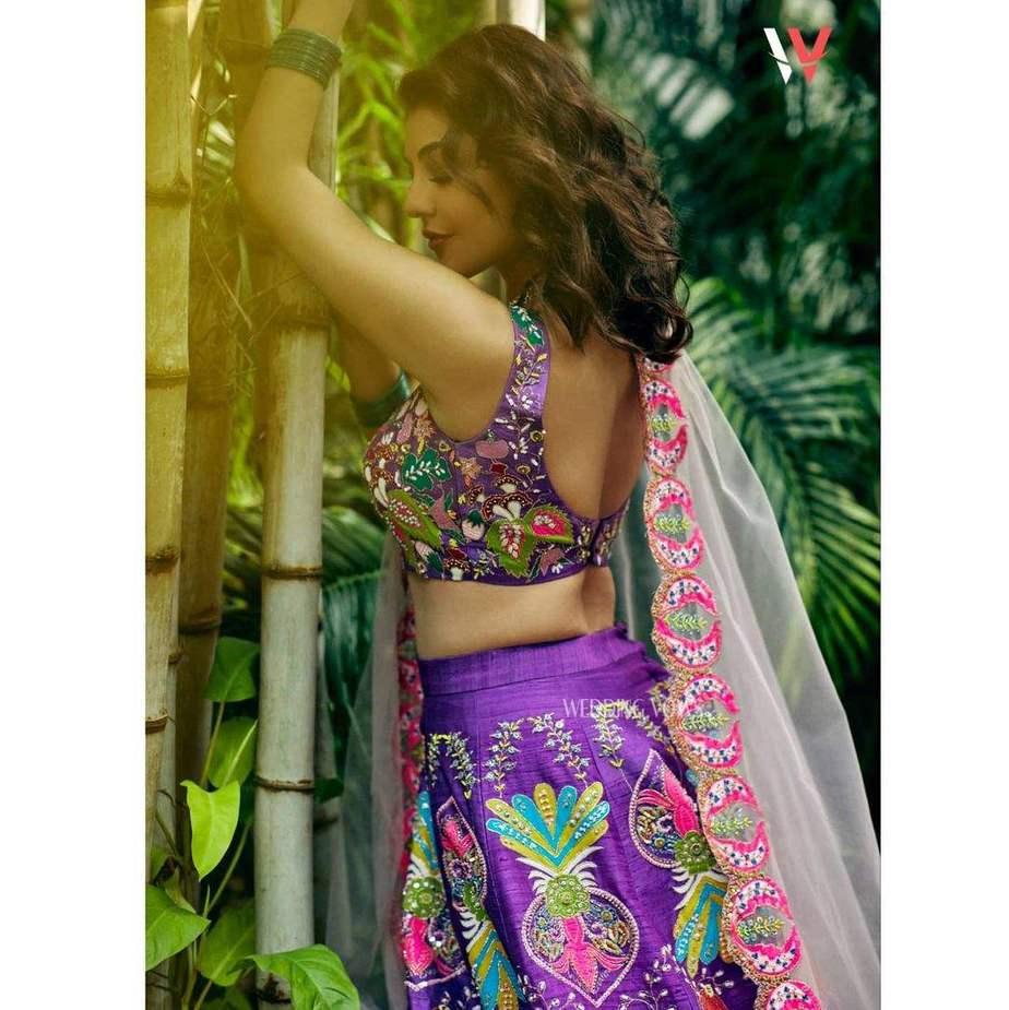 Kajal aggarwal in a purple lehenga set by Aisha rao for wedding vows photoshoot2