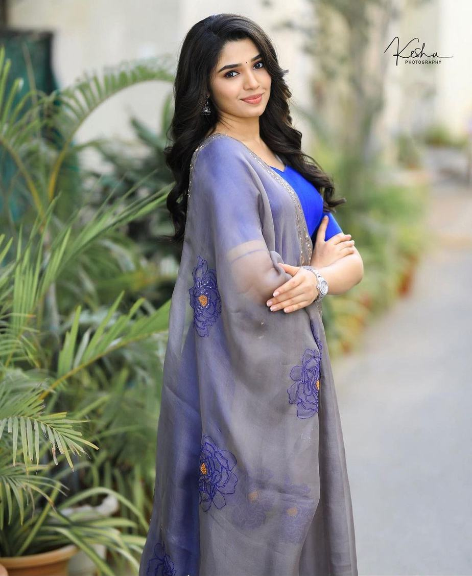 Krithi Shetty in blue anarkali set by bharghavi kunam for uppena promotions