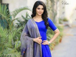Krithi Shetty in blue anarkali set by bharghavi kunam for uppena promotions1