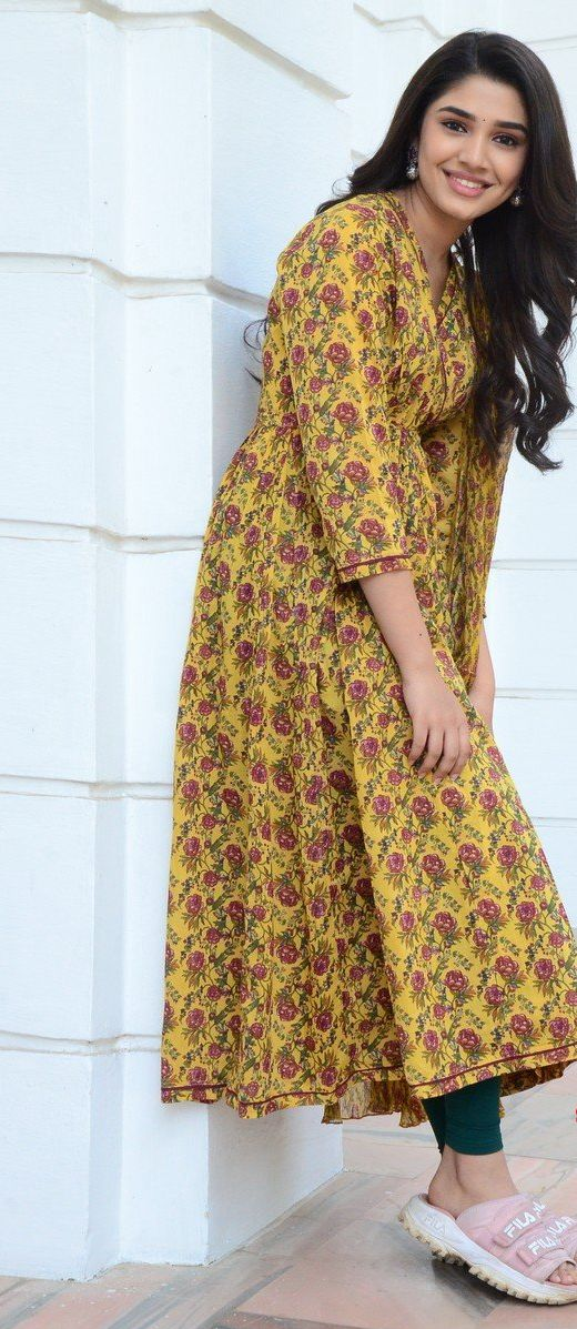 Krithi Shetty in floral cyber yellow kurta set at Uppena movie interview
