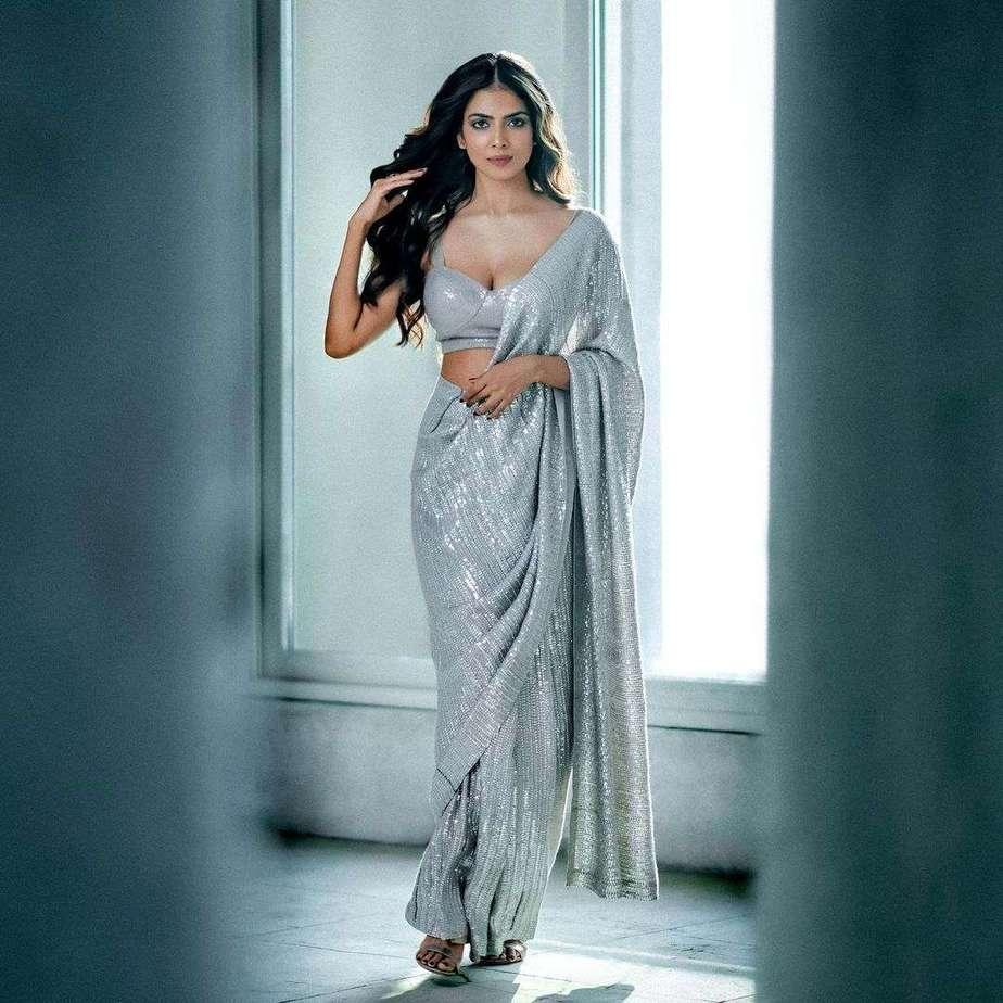 Malavika Mohanan in silver sequin saree by Manish Malhotra