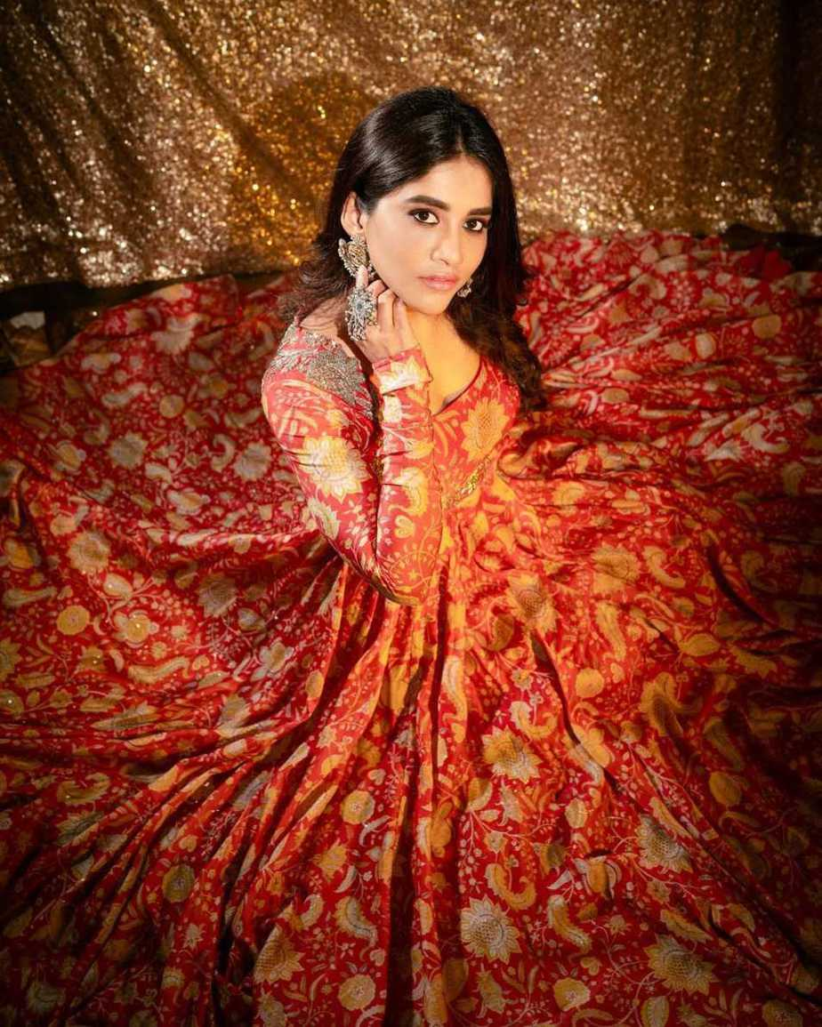 Nabha Natesh in orange anarkali by Mrunalini Rao3