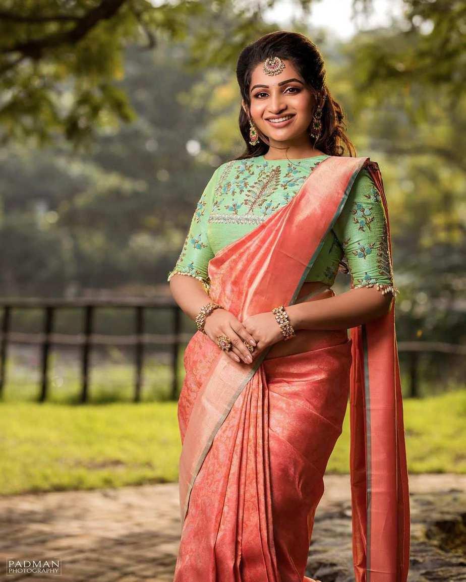 Nakshathra Nagesh in peach pattu saree by sadhan1