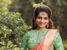 Nakshathra Nagesh in peach pattu saree by sadhan4