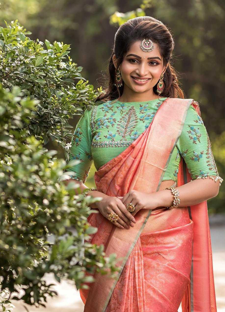 Nakshathra Nagesh in peach pattu saree by sadhan4