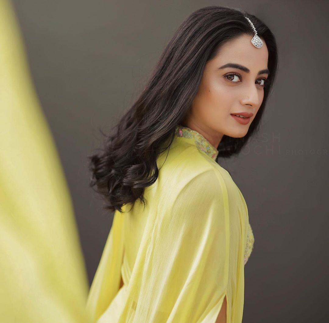 Namitha Pramod in lemon yellow outfit by Jeune Maree