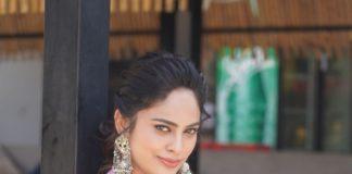 Nandita Swetha in a floral saree by Shasmahi for Akshara movie interview-2