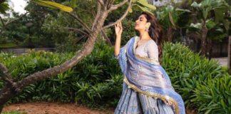 Nidhhi Agerwal in a blue-white sharara set by Maayera Jaipur1.3