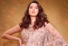Nora Fatehi in oyster coloured Tarun Tahiliani concept saree for bb14 finale-1