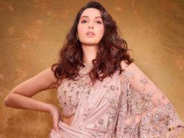 Nora Fatehi in oyster coloured Tarun Tahiliani concept saree for bb14 finale-1