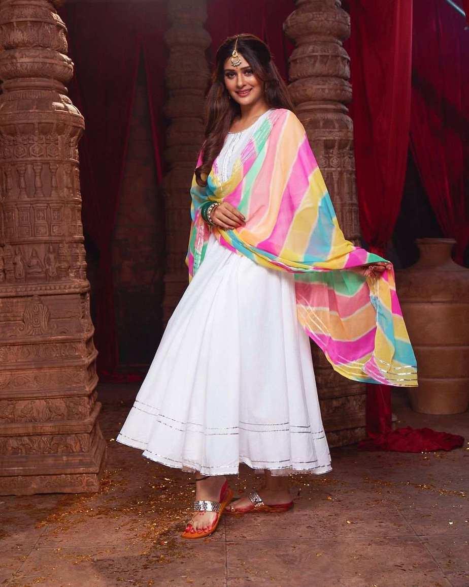 Payal Rajput in white anarkali by lavanya the label 1