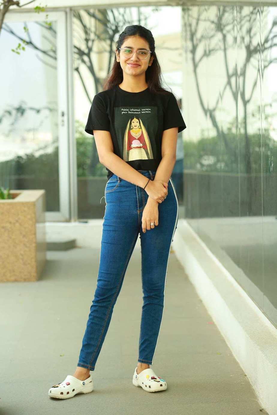 Priya Prakash Varrier in black tee and jeans for check movie interview1