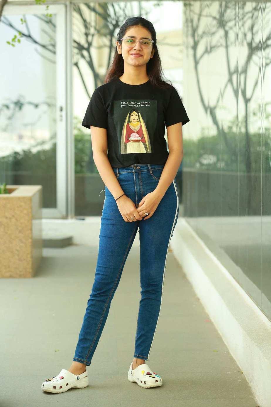 Priya Prakash Varrier in black tee and jeans for check movie interview2