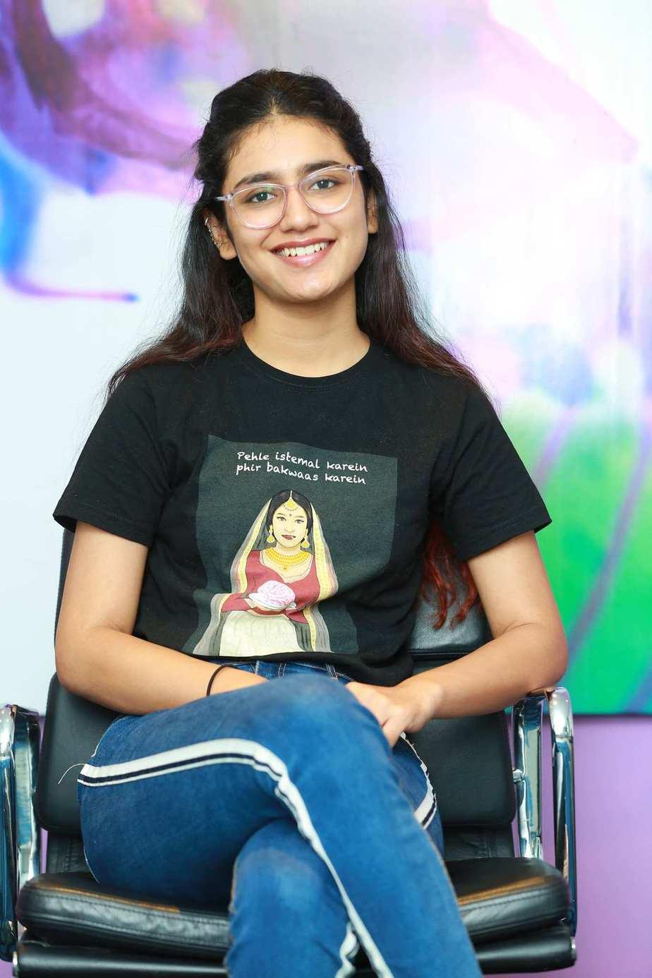 Priya Prakash Varrier in black tee and jeans for check movie interview3