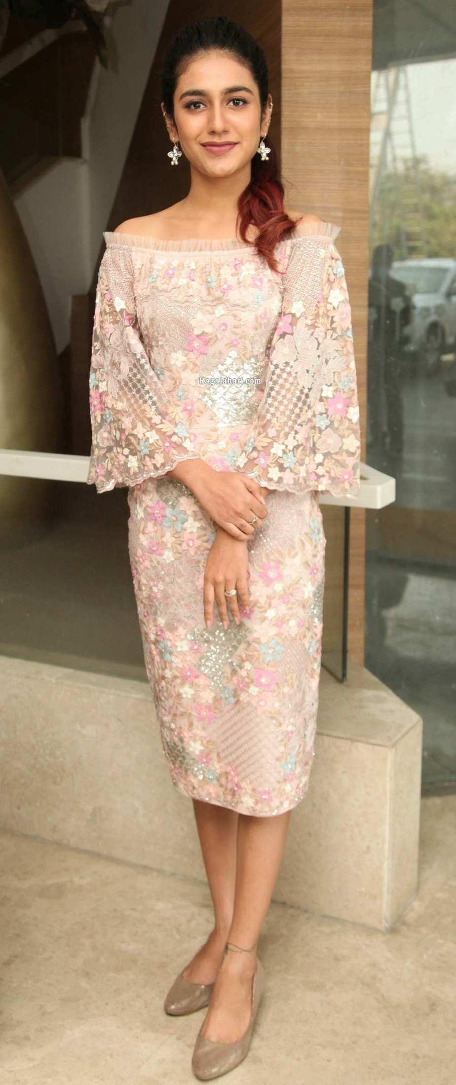 Priya Prakash Varrier in peach dress for check press meet1.2