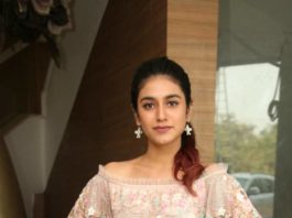 Priya Prakash Varrier in peach dress for check press meet2