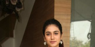 Priya Prakash Varrier in peach dress for check press meet2