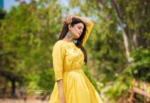 Priyamani Raj in yellow flared dress by Kamodinee for Dhee 13