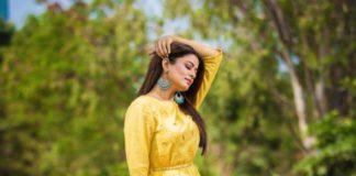 Priyamani Raj in yellow flared dress by Kamodinee for Dhee 13