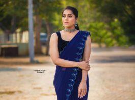 Rashmi Gautam in royal blue saree by wowo1