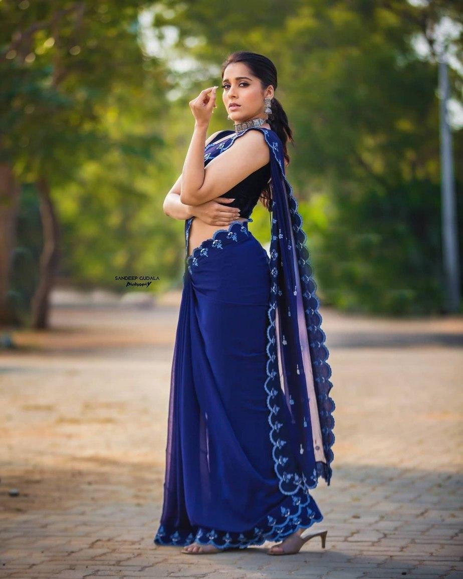Rashmi Gautam in royal blue saree by wowo4