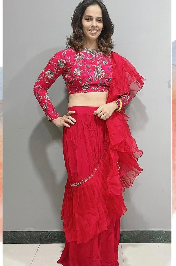 Saina Nehwal in red ruffle saree by Chhavi aggarwal 4