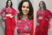 Saina Nehwal in red ruffle saree by Chhavi aggarwal-featured
