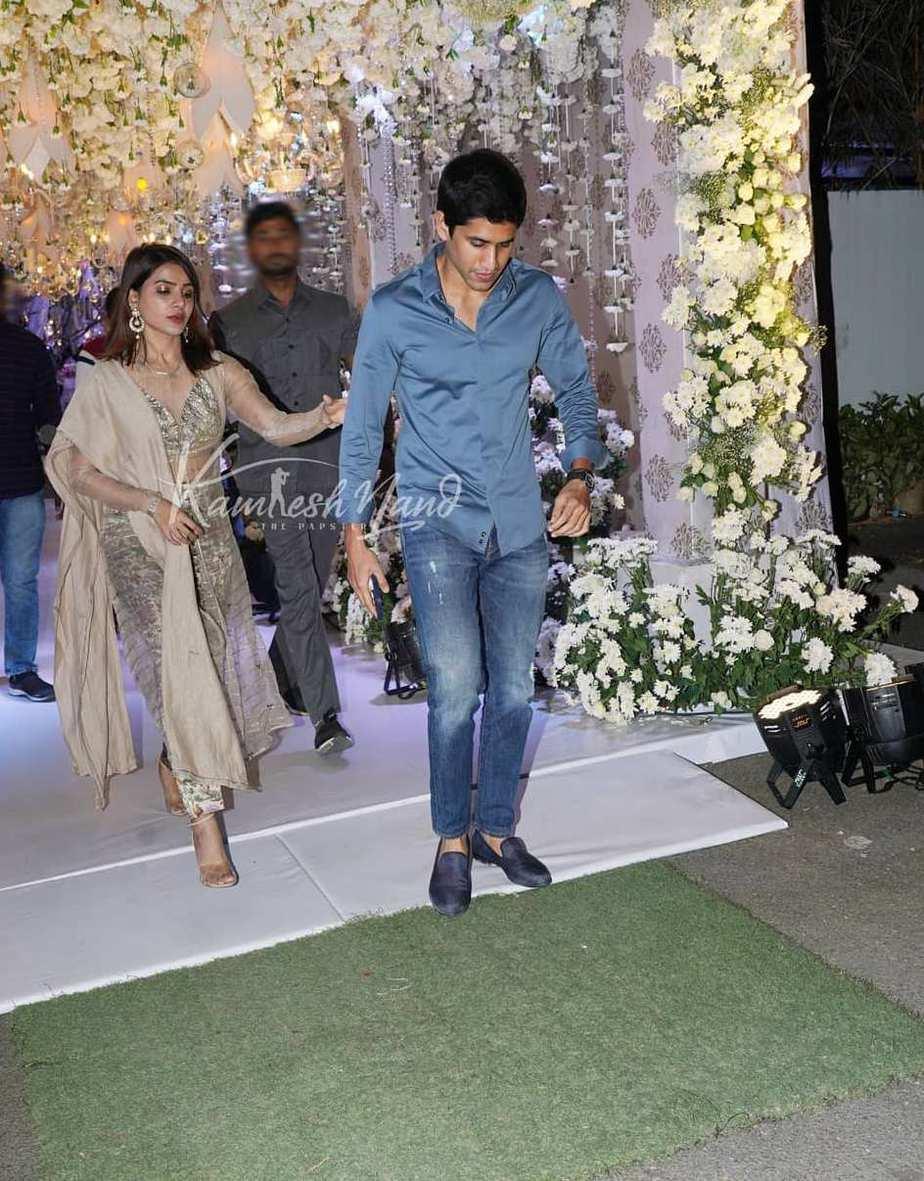 Samantha Akkineni and Chaitanya in gold and blue at Director Sukumar's family bash-2
