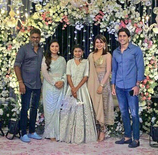 Samantha Akkineni and Chaitanya in gold and blue at Director Sukumar's family bash-5