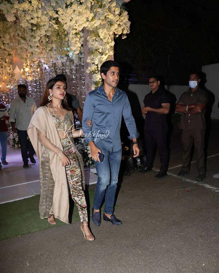 Samantha Akkineni and Chaitanya in gold and blue at Director Sukumar's family bash