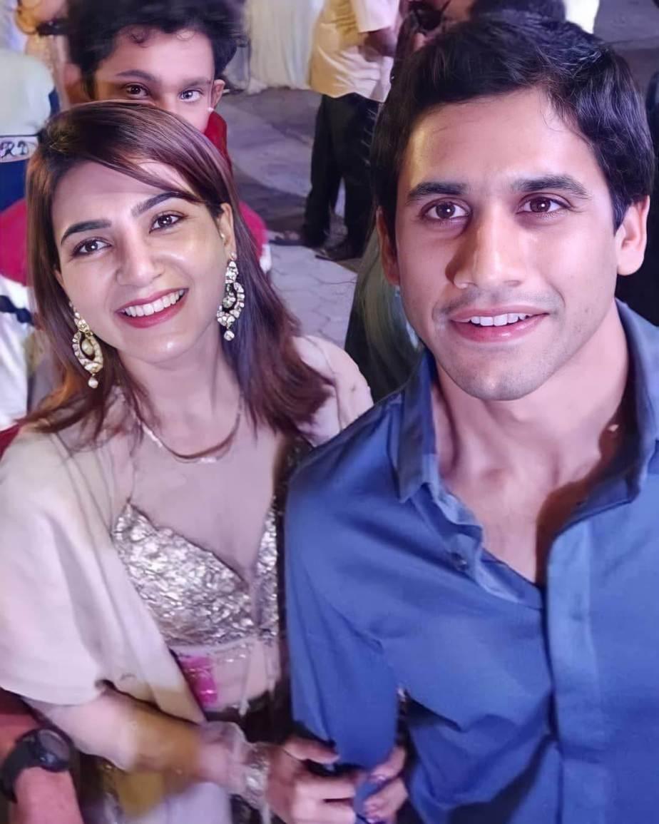 Samantha Akkineni and Chaitanya in gold and blue at Director Sukumar's family bash5