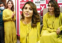 Samantha Akkineni in lime green dress and palazzo for a hospital opening in Hyderabad-featured