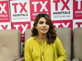 Samantha Akkineni in lime green dress and palazzo for a hospital opening in Hyderabad3